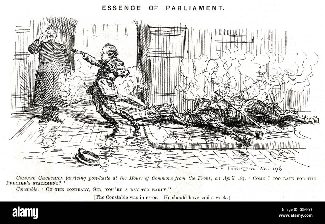 Essenz des Parlaments Winston Churchill - Punch-Karikatur-Datum: 1916 Stockbild