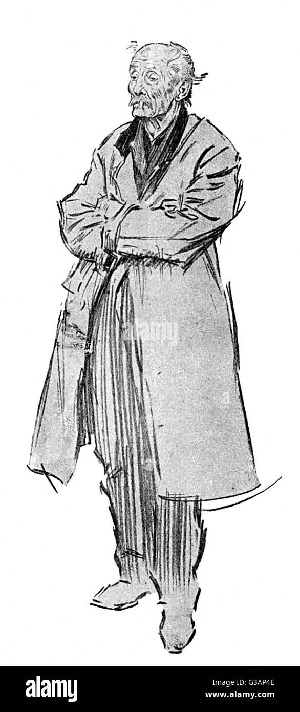 Charakterstudie von Phil kann von einem alten in einen Regenmantel, scheinbar nach unten auf sein Glück etwas Stockbild