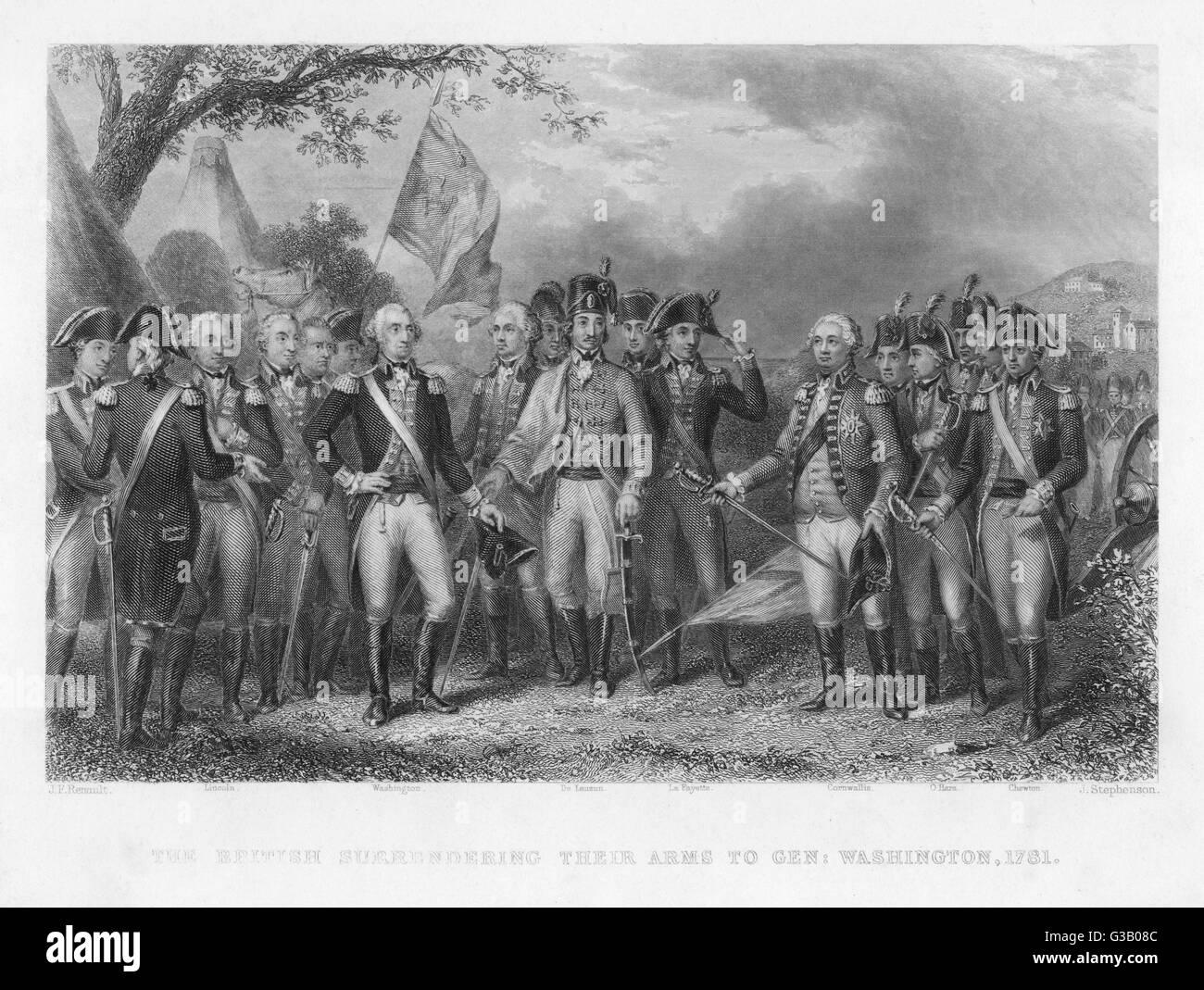 Die Briten übergeben ihre Waffen an die amerikanische Armee in Yorktown; Prominente Persönlichkeiten gezeigt Stockbild