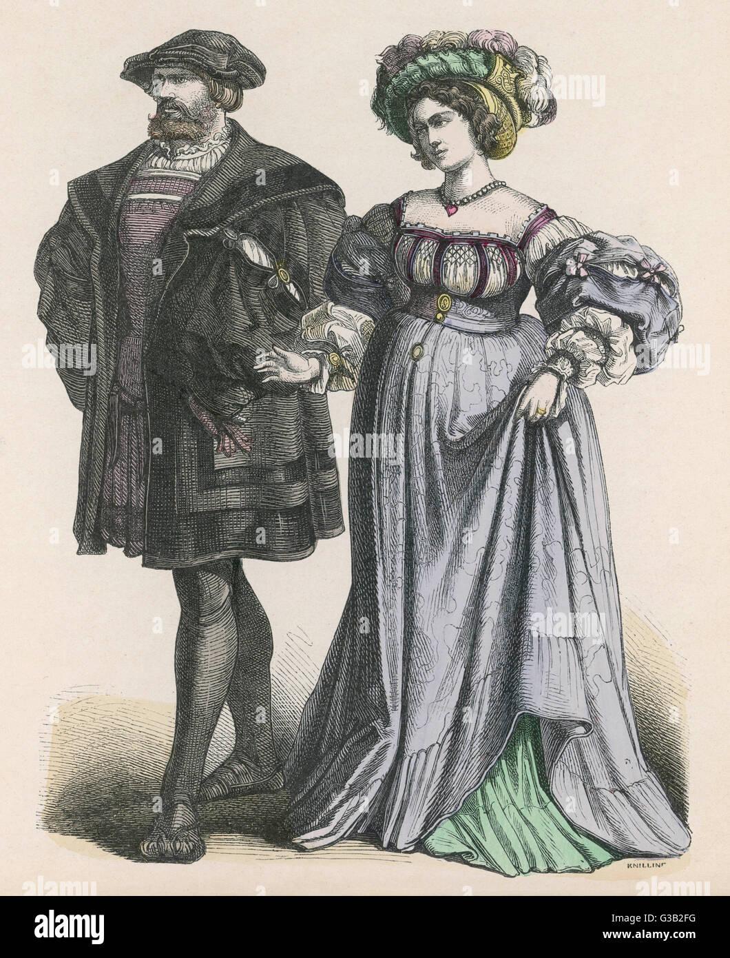 Ein paar der führenden Bürger Datum: ca. 1515 Stockbild