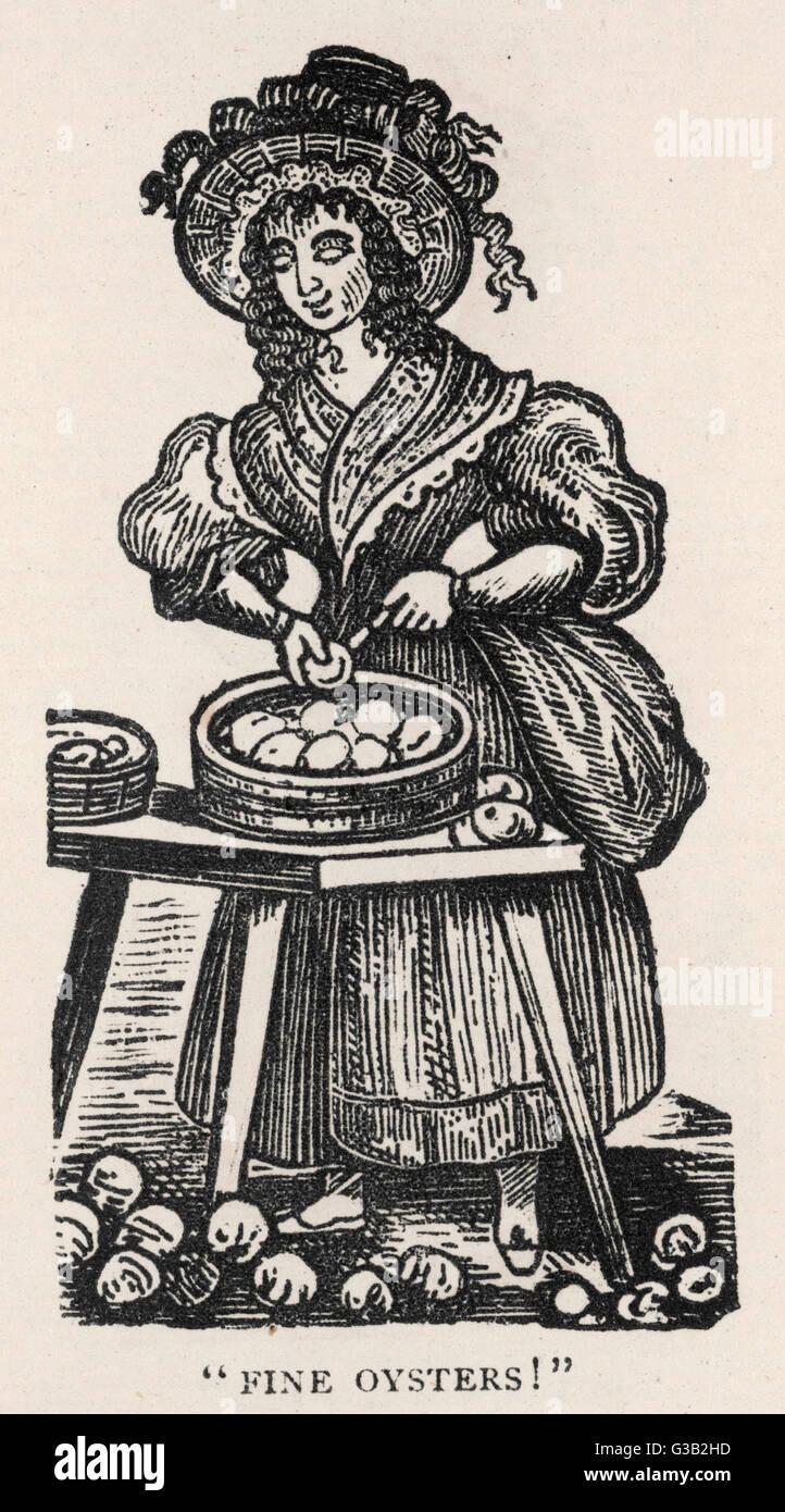 """""""Feine Austern!""""         Datum: um 1830 Stockbild"""