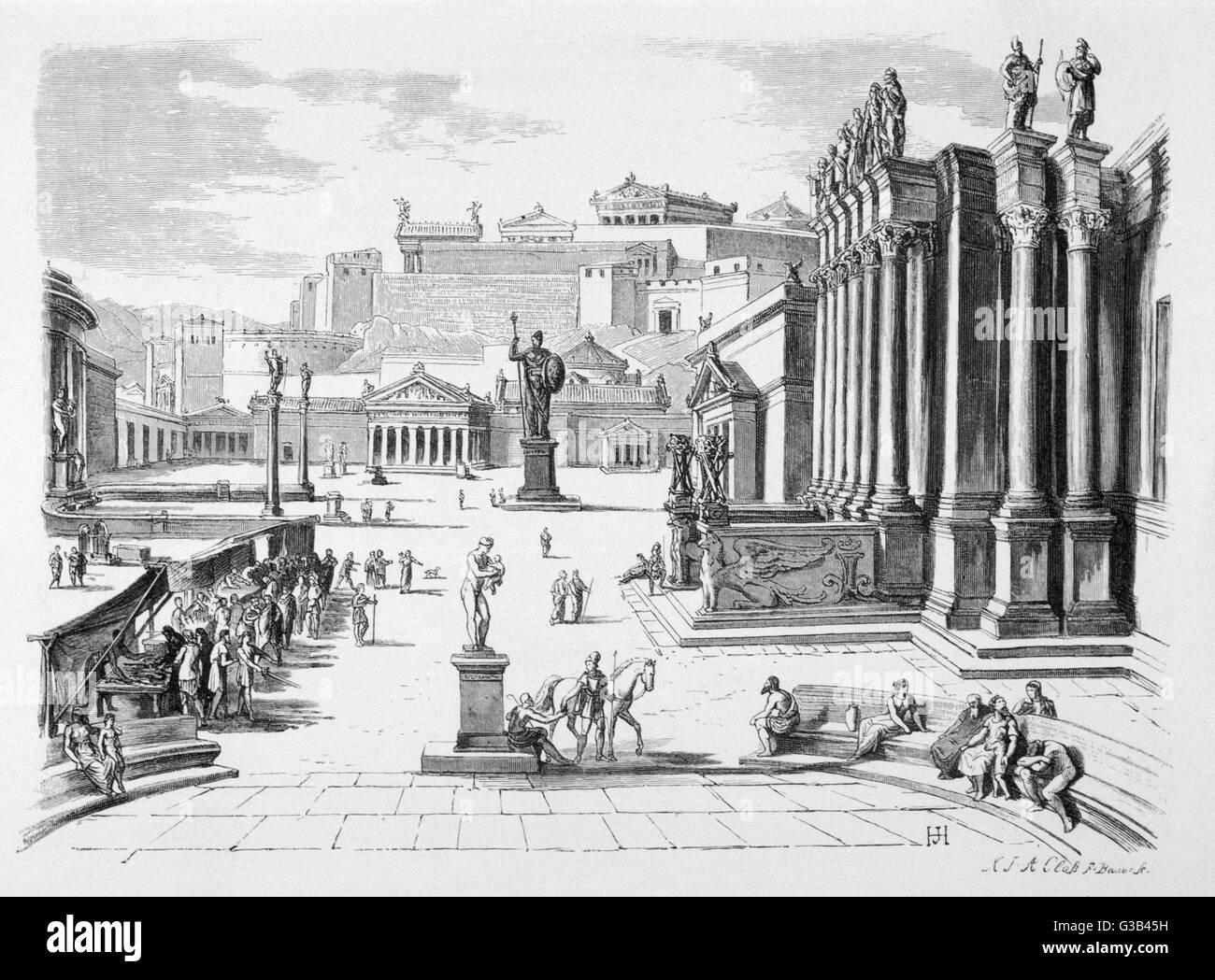 Eine Rekonstruktion der Agora, Sparta. Stockbild