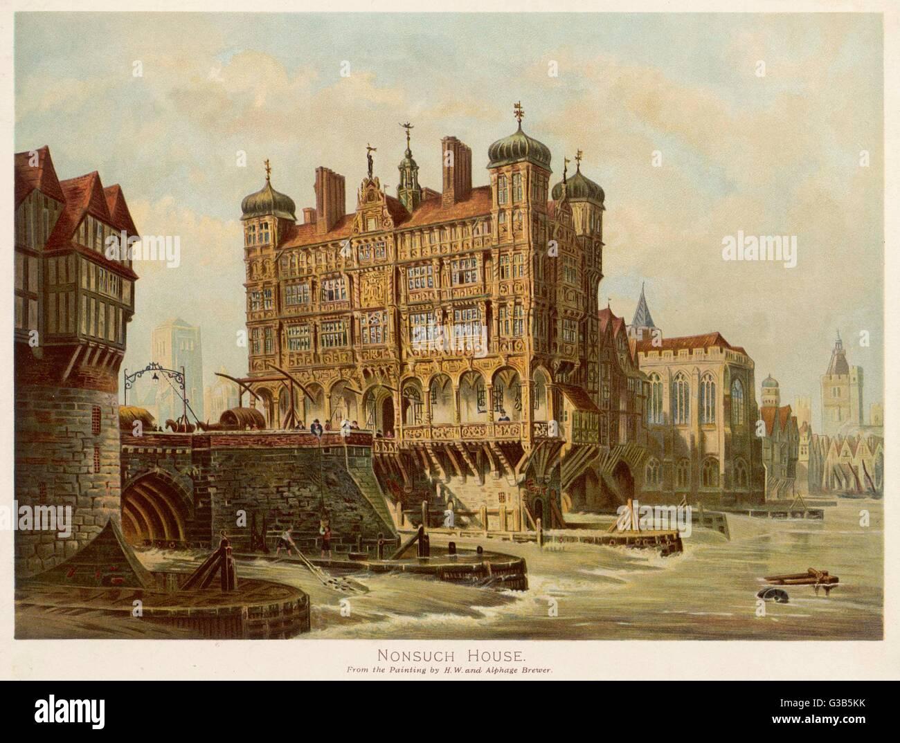 London Bridge mit Nonsuch House, als es sah, im 17. Jahrhundert Datum: 17. Jahrhundert Stockfoto