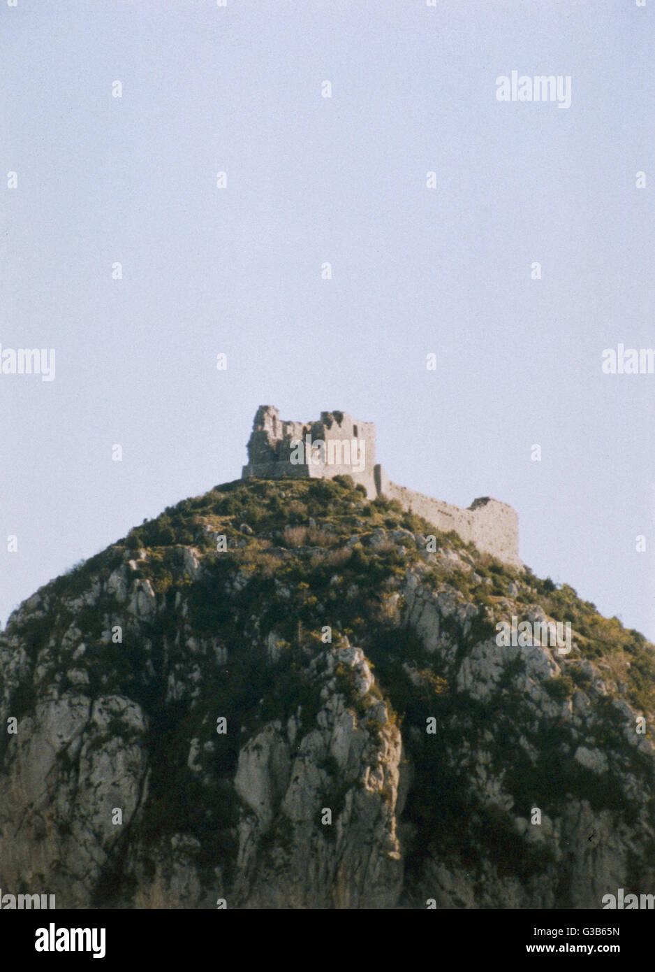 Montségur, Languedoc Datum: 1989 Stockbild