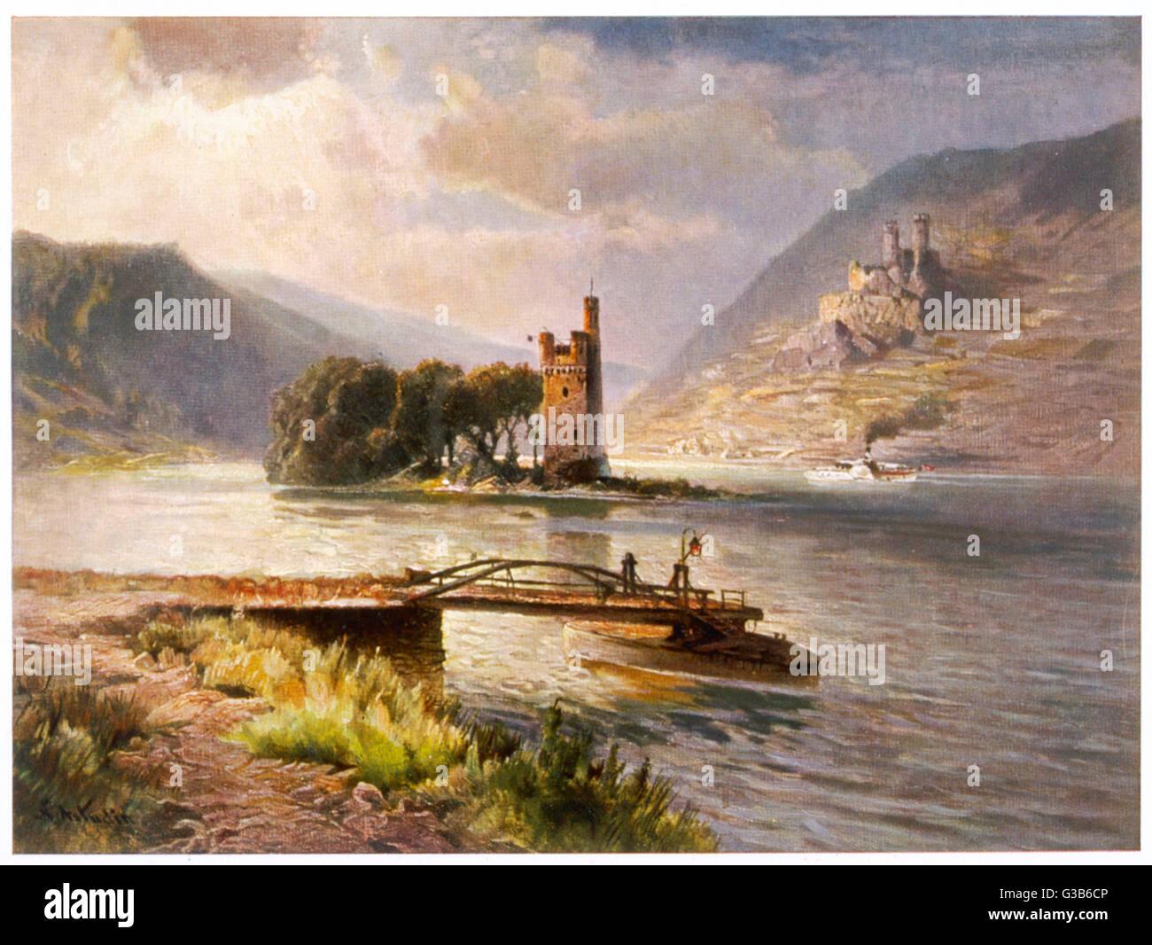 Der Mauseturm in den Rhein - das Thema der Legende Stockbild