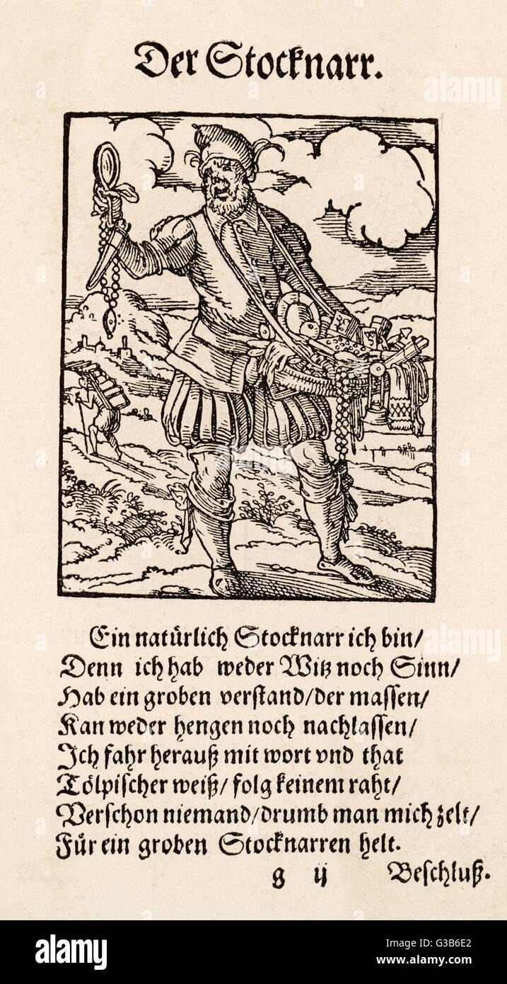 Eine frühe Hausierer.         Datum: 16. Jahrhundert Stockbild