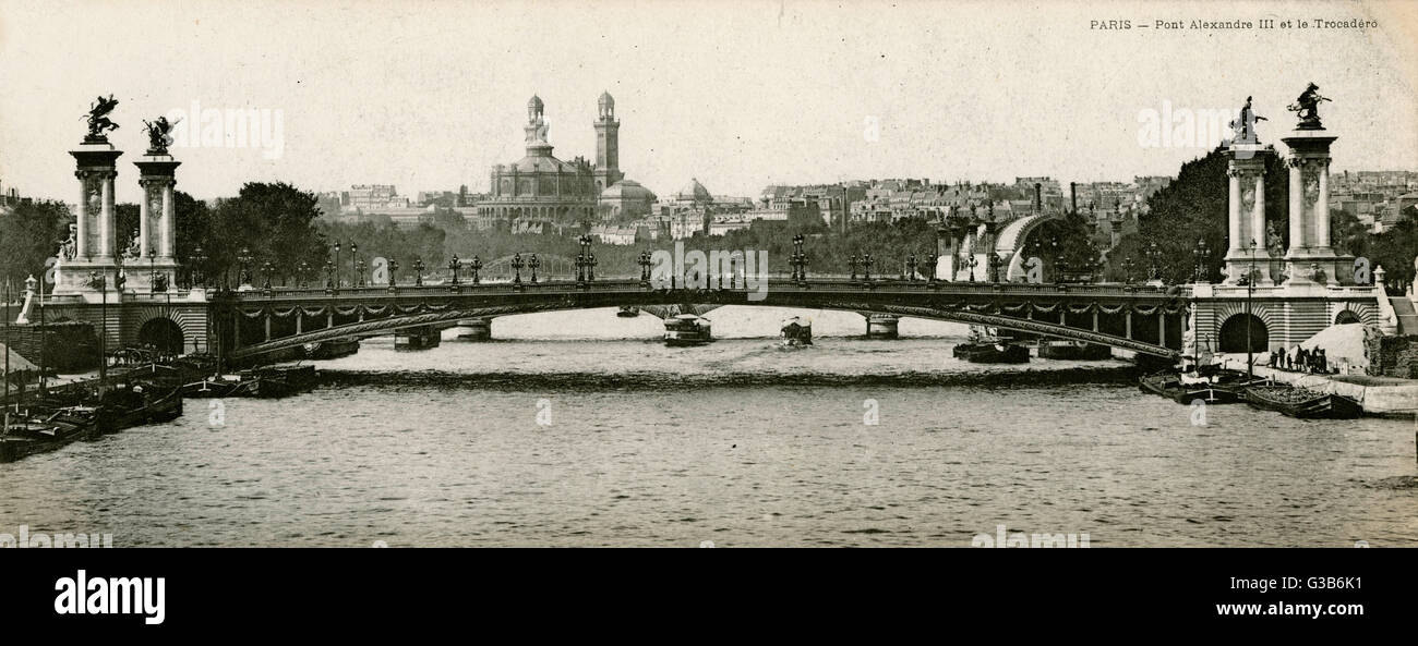 Das Trocadero am Horizont Datum: 1905 Stockbild