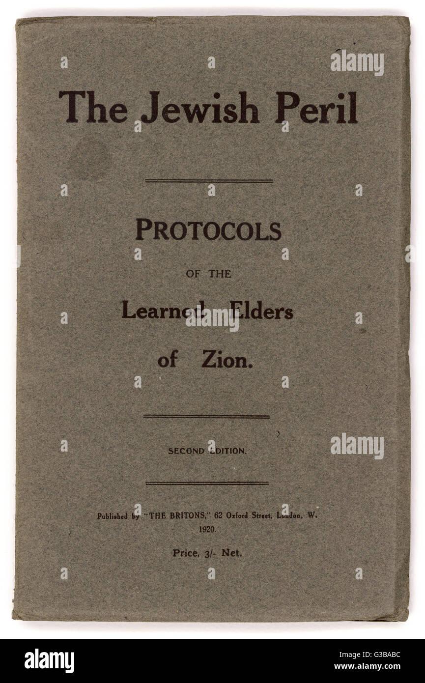 """Ein Buch mit dem Titel: """"Protokolle der gelernt weisen von Zion"""" Datum: 1920 Stockbild"""