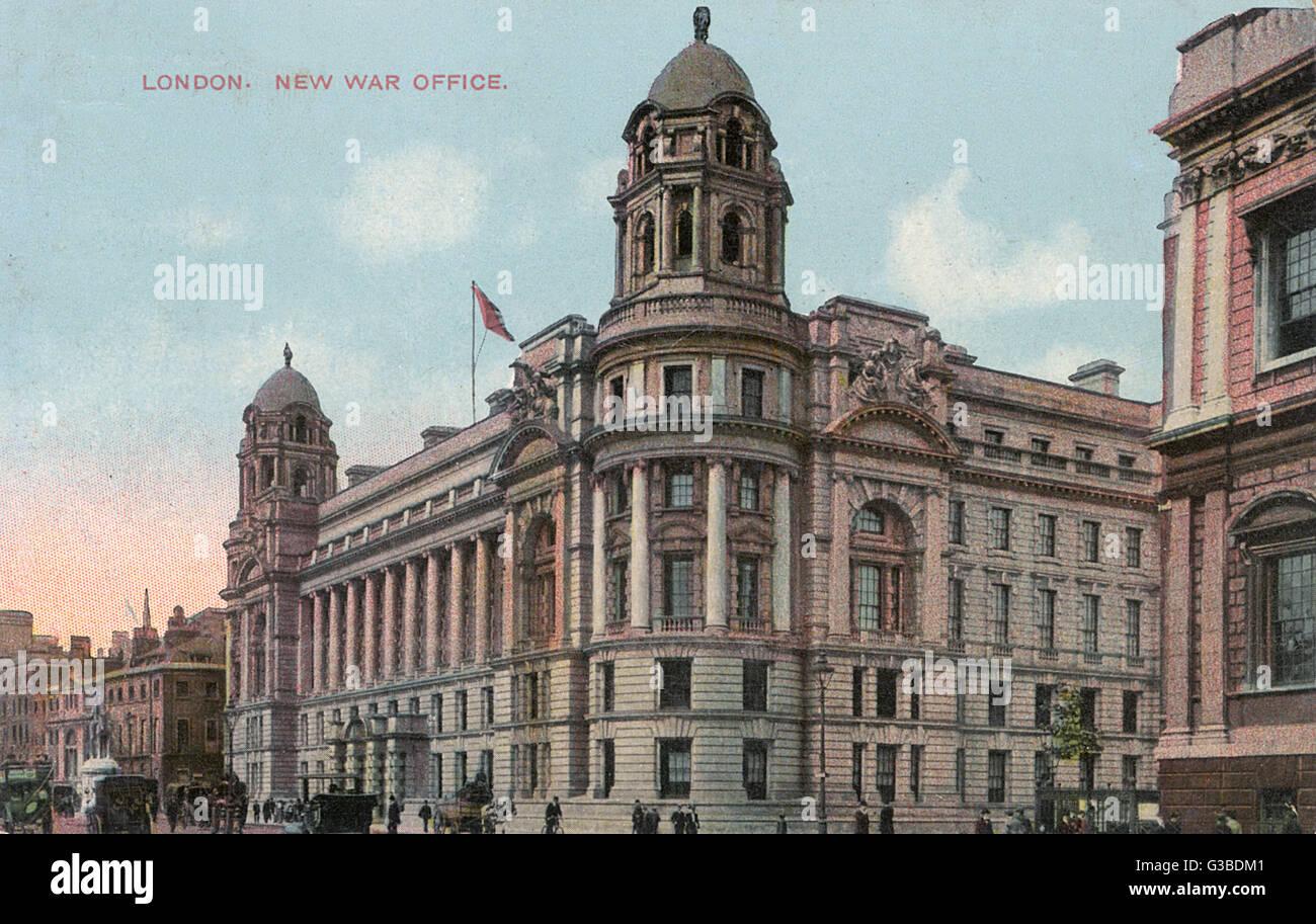 Das War Office-Gebäude, das im Jahre 1906 Datum abgeschlossen worden waren: 1916 Stockbild