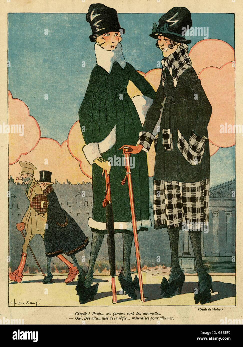 Die Silhouette am Ende des Jahrzehnts: Röcke haben weniger voll, aber schmalen Saum, Taille-Linien bleiben Stockbild