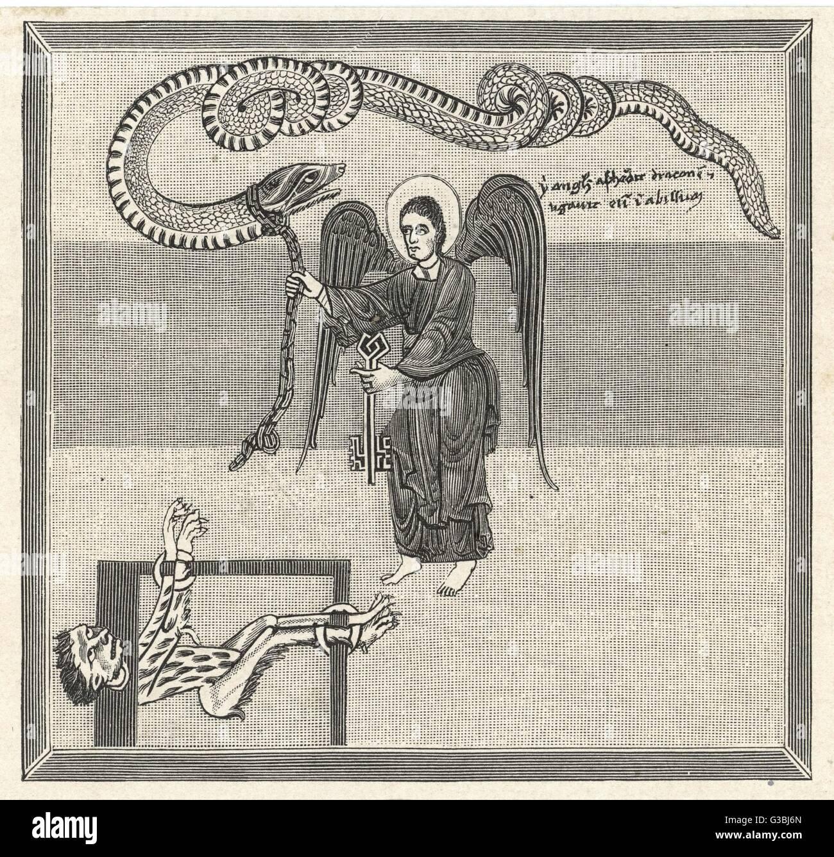 Ein Engel sperrt - die bösen One - Drachen in den Abgrund. Stockbild