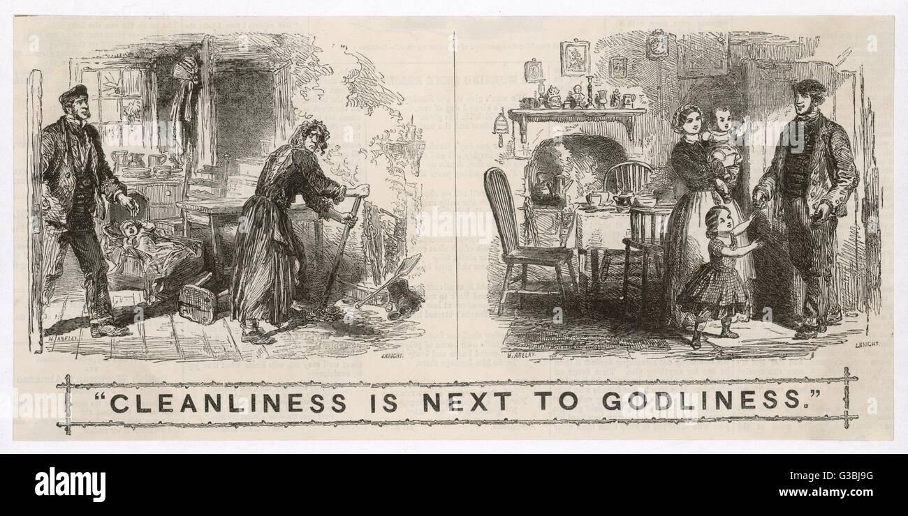 """Eine eher moralische Illustration mit dem Titel: """"Sauberkeit ist das halbe Leben"""" Datum: 1857 Stockbild"""