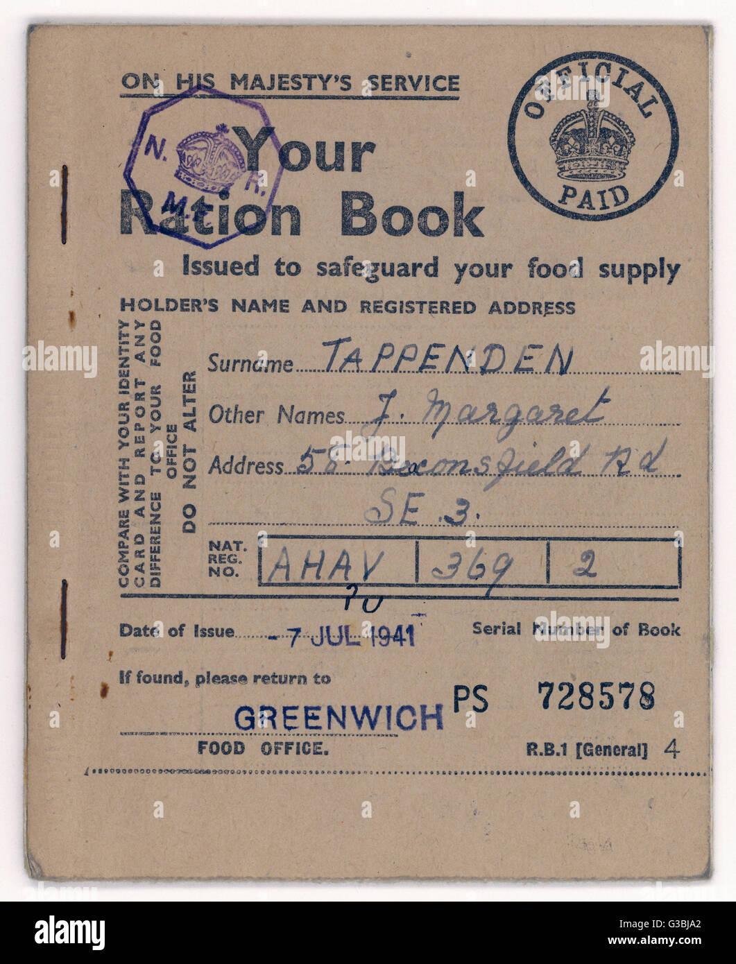 Ein Beispiel für ein Essen Ration Buch Datum: 1941 Stockbild