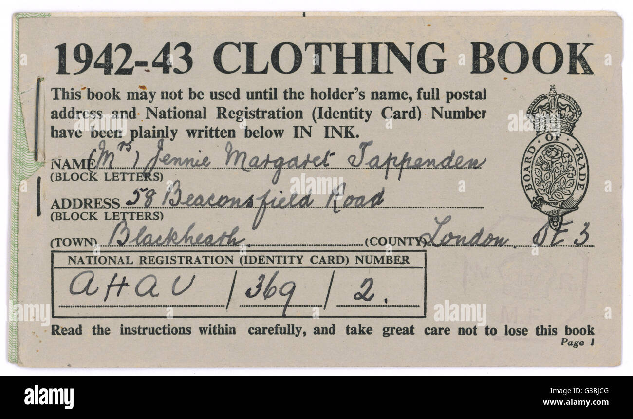 Ein Beispiel für Kleidung Gutscheinbuch Datum: 1942 / 43 Stockbild
