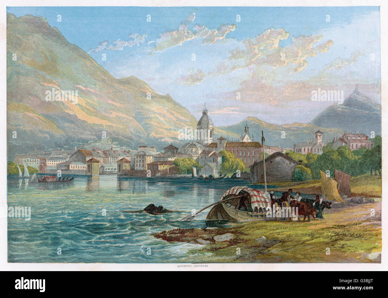 Comer See-ein Blick über den See.  Titel: Como, Schweiz.      Datum: 1857 Stockbild
