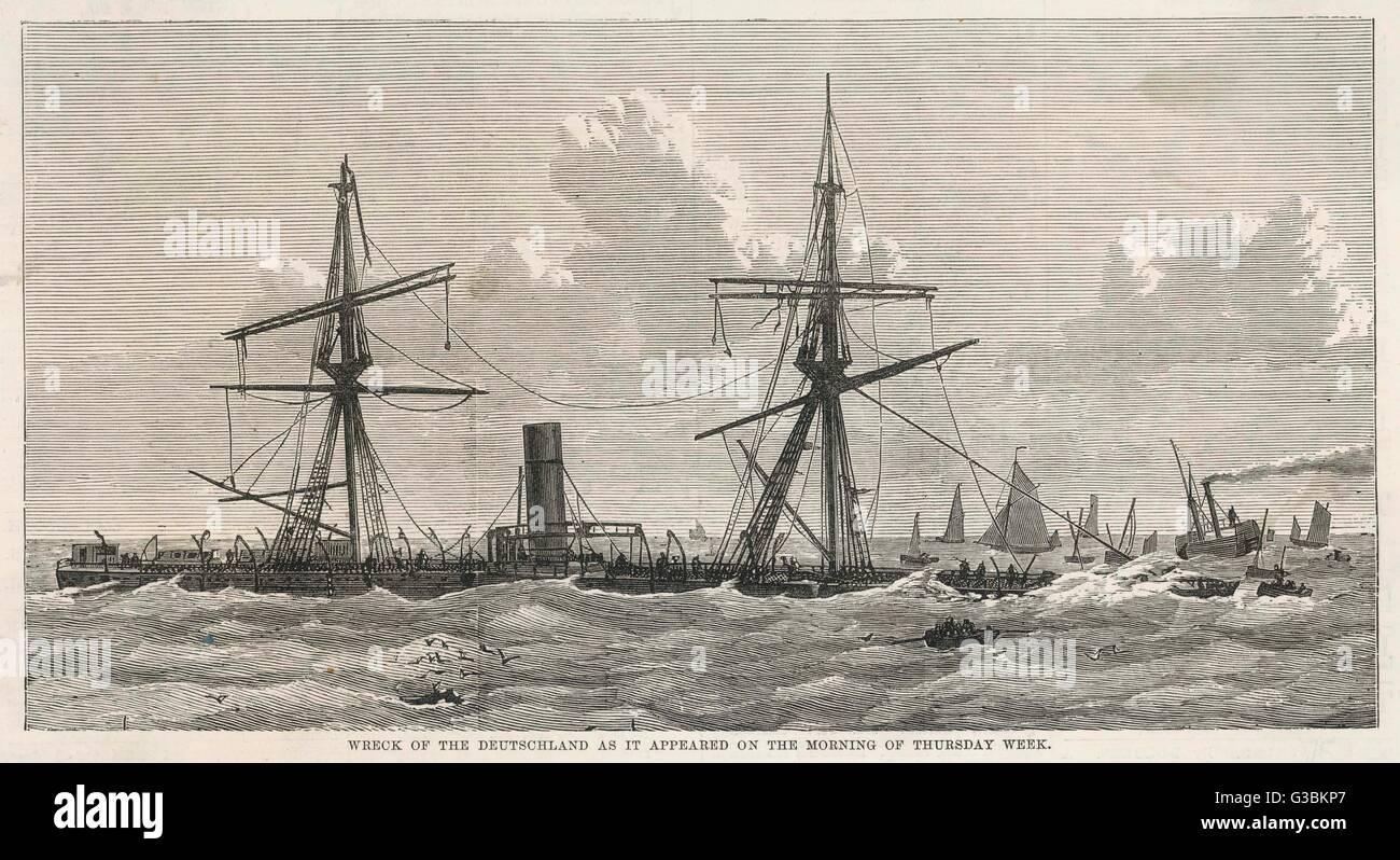 """Einige zugrunde gehen, wenn der deutsche Dampfer """"Deutschland"""" aus Kentish Knock in der Themsemündung Stockbild"""