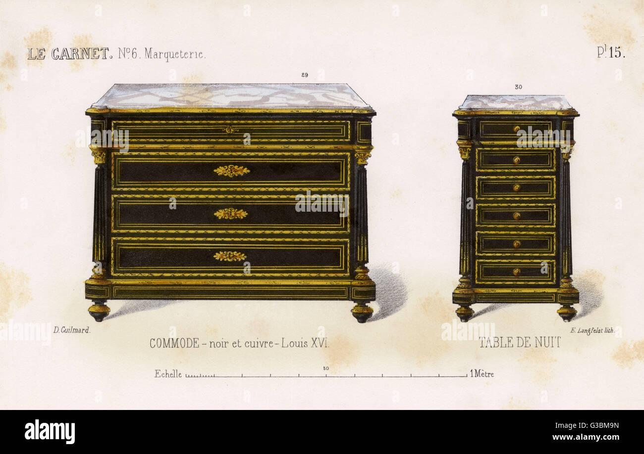 Kommode schwarz holz  Kommode und Tabelle de Nuit (Nachttisch) in schwarz Holz und Kupfer ...