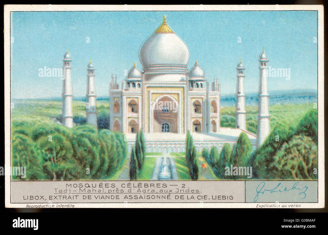 Das schönste Gebäude, das jemals gebaut wurde, ist wohl das Taj von Shah Jehan in Erinnerung an seine Frau gebaut.  Es ist 78 Meter hoch und ist umgeben von schönen Gärten.     Datum: erbaut 1631-1645 Stockfoto