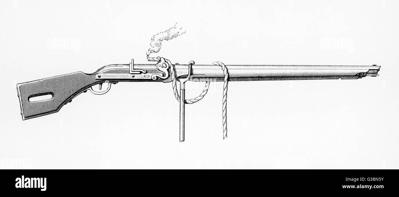 Luntenschloss mit Rauchen Docht Datum: ca. 1620 Stockbild