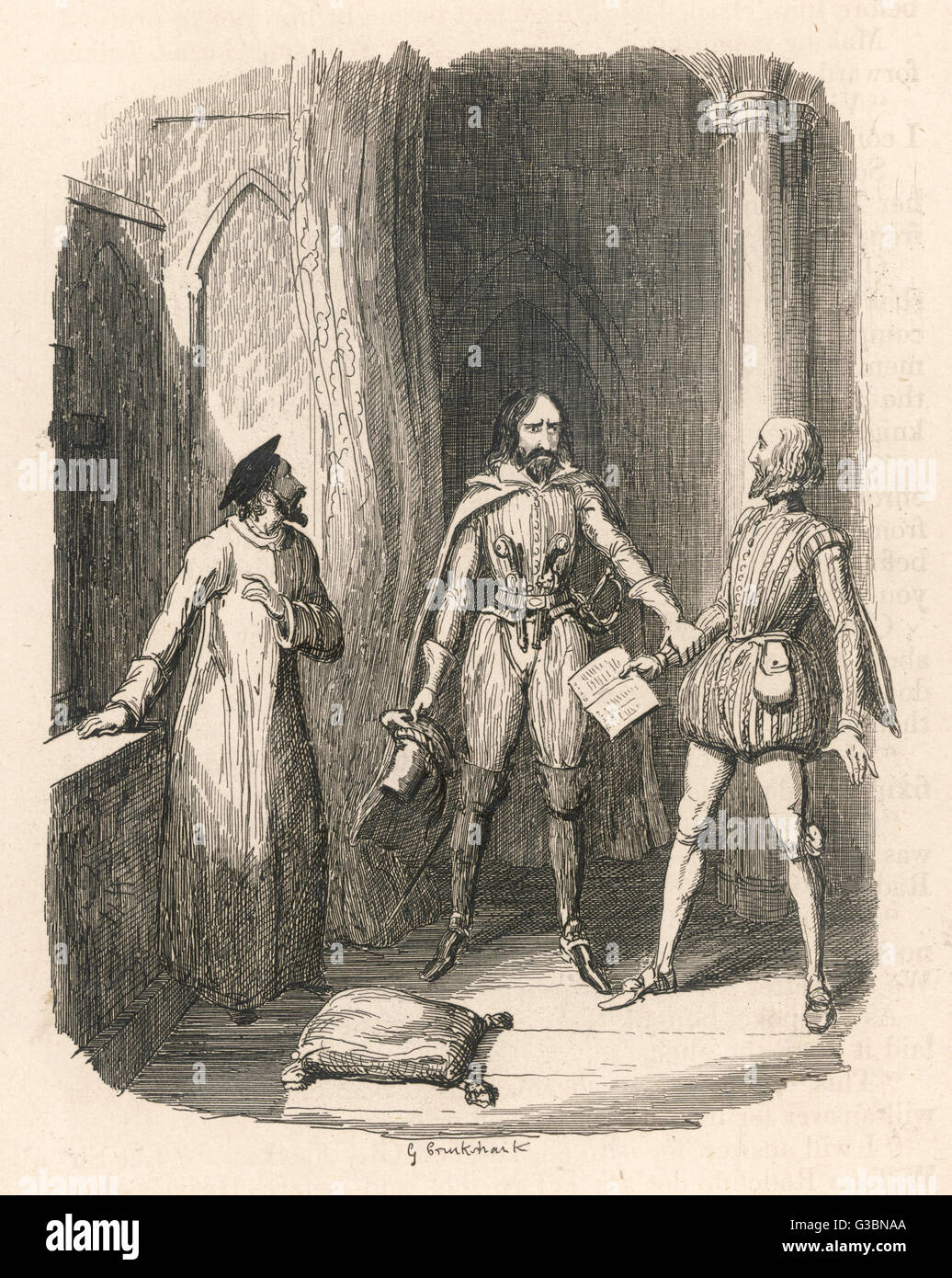 GUY FAWKES Fawkes verhindert, dass Sir William Radcliff beitreten die Verschwörung.      Datum: Zuerst veröffentlichen: Stockbild