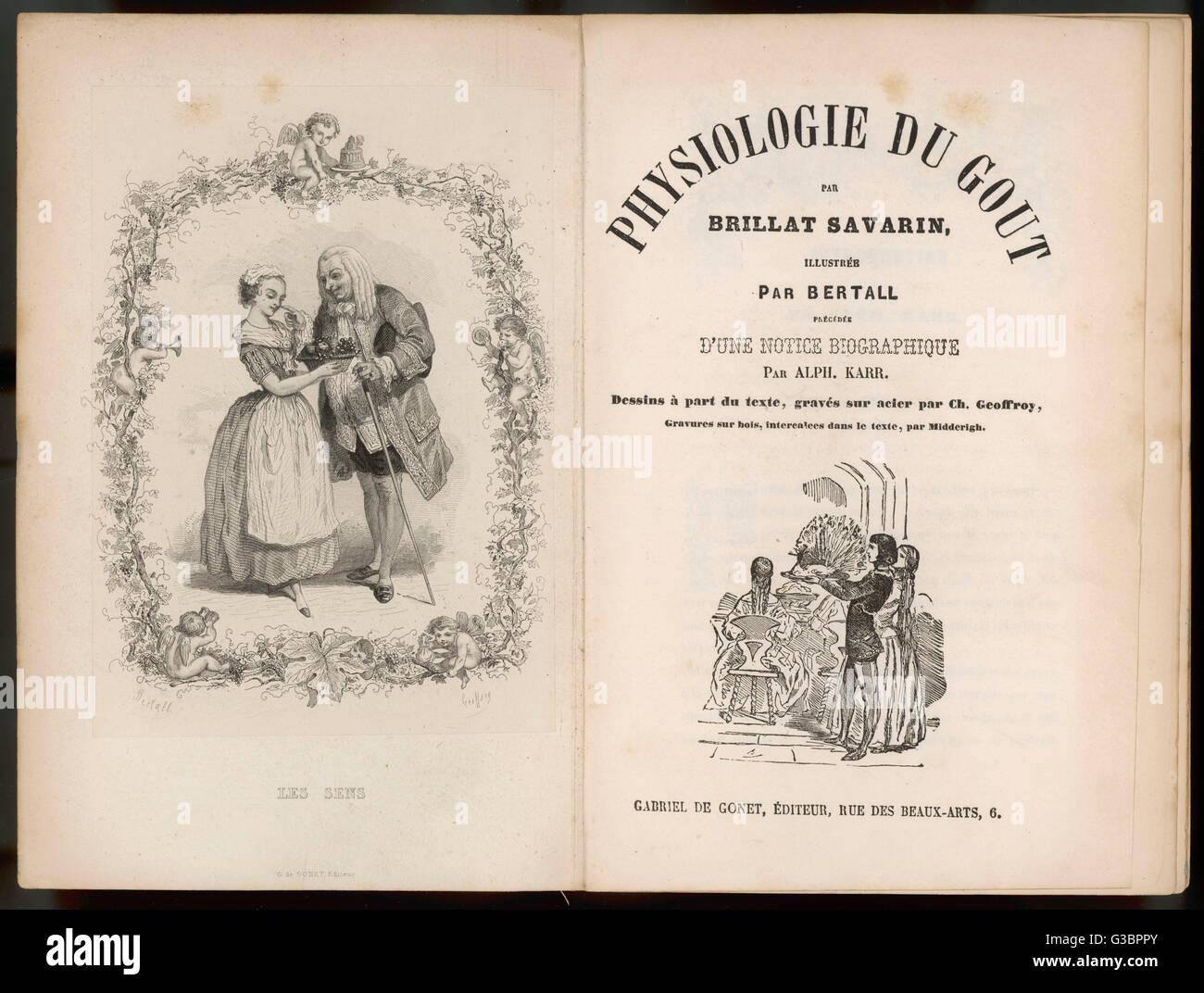 """Frontispiz und Titelblatt der """"Physiologie des Geschmacks"""" von Brillat Savarin. Ein Buch über die Stockbild"""