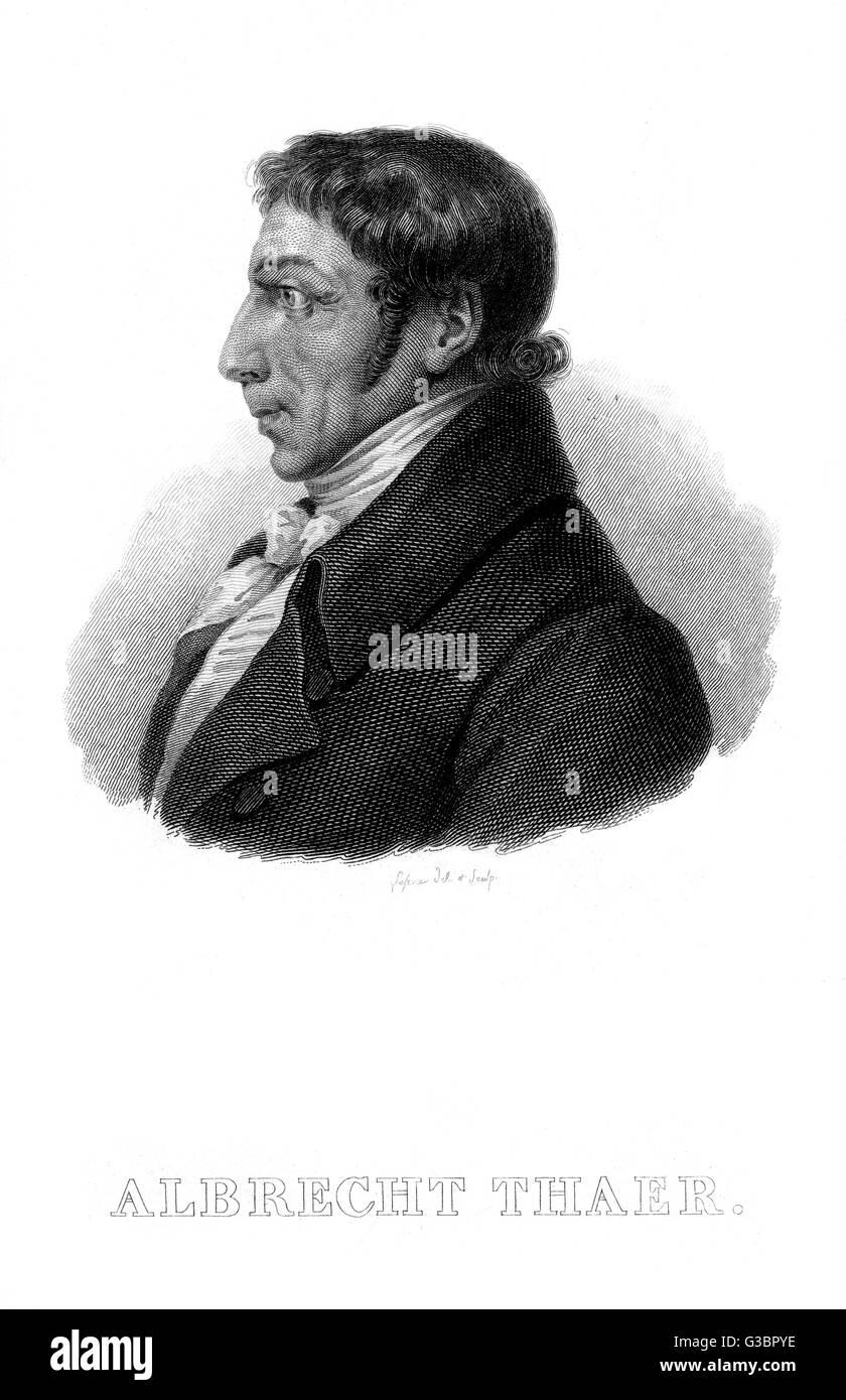 ALBRECHT DANIEL THAER deutschen Arzt und Agronom Datum: 1752-1828 Stockbild