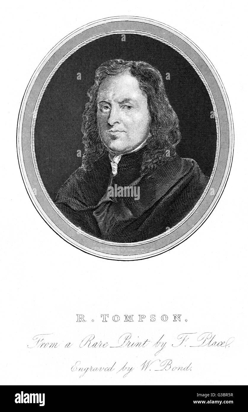 RICHARD TOMPSON drucken Verkäufer Datum:? -1693 Stockbild