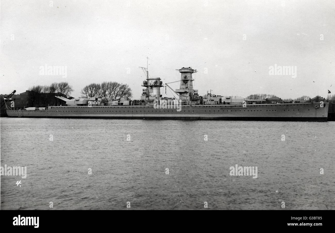 Admiral Graf Spee, deutsche Schlachtschiff (Deutschland-Klasse Kreuzer).      Datum: 1930er Jahre Stockbild