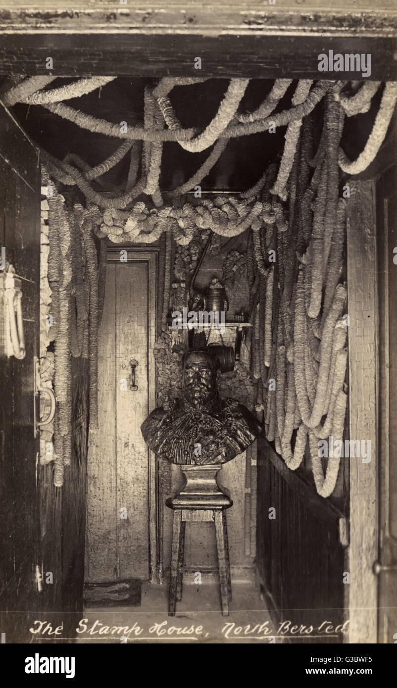 Das Stempel-Zimmer im The Rising Sun Pub, Nord Bersted, Bognor Regis. Schließlich zog sich in den 1920er Jahren, Stockbild