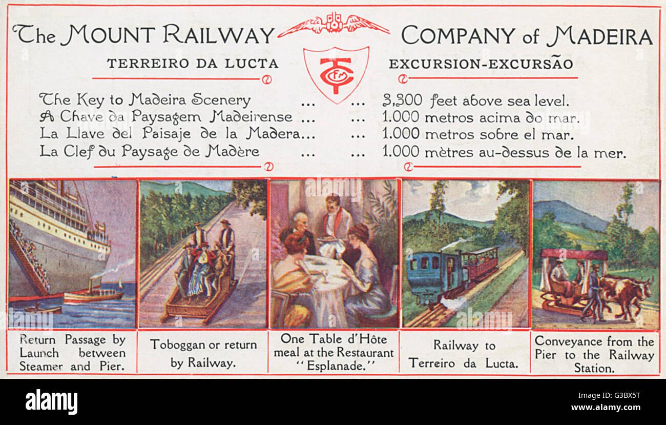 Der Mount Eisenbahngesellschaft von Madeira, mit Bildern von verschiedenen Ausflügen und Aktivitäten auf Stockbild