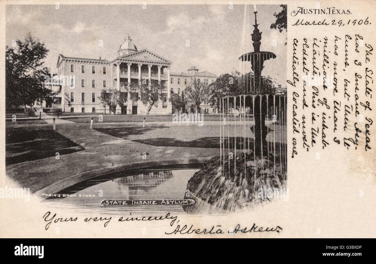 Ansicht der staatlichen Nervenheilanstalt (jetzt die Austin State Hospital), Austin, Texas, USA.  Es ist das älteste Stockbild