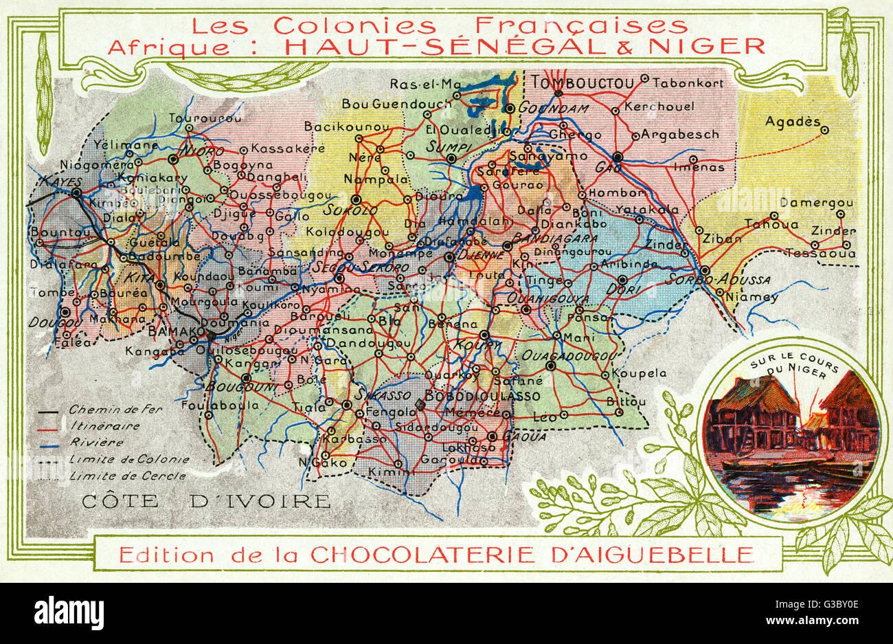 Karte Afrika Kolonien.Senegal Und Niger Franzosischen Kolonien In Afrika Karte