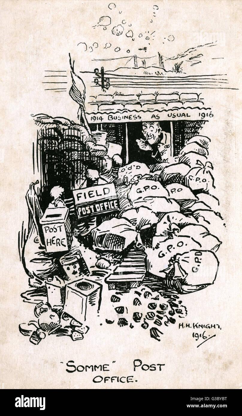Ww1 Cartoon Somme Post Office Zeigen Unternehmen Wie Gewohnt Mit