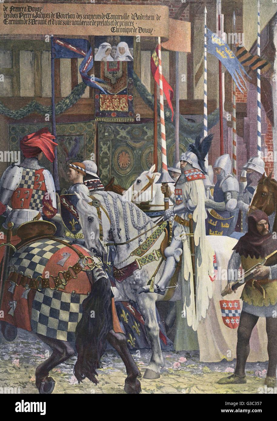 Freudige Eintrag von Johann Ohneland das gute an Douai, 1355. Ein Panorama-Gemälde von Auguste Fran?s-Marie Stockbild