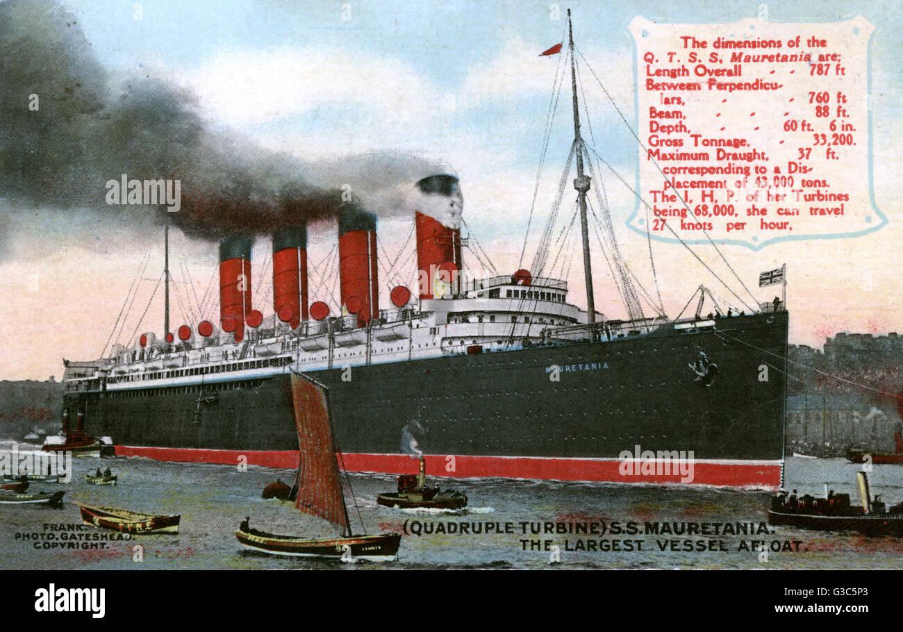 RMS Mauretania - Passagierschiff der Cunard White Star Line, sie hielt das blaue Band für 21 Jahre; Sie wurde aus Stockfoto