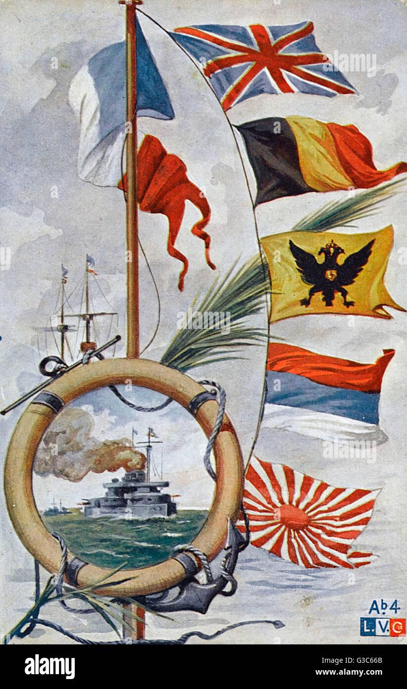 WW1 - Fahnen der Alliierten - französische Postkarte Datum: um 1915 Stockbild