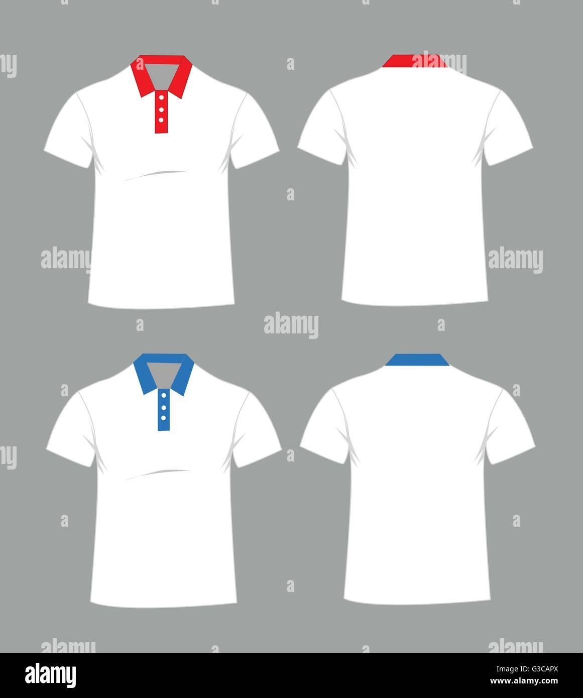T-shirt-Vorlage leer. Vorder- und Rückseite Vektor-illustration ...