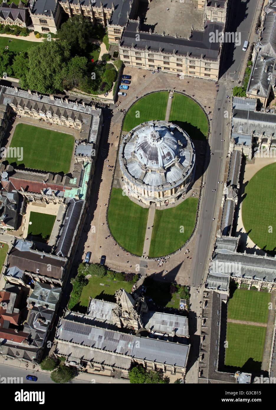 Luftaufnahme des Radcliffe Kamera & Bodleian Library, Oxford University, UK Stockbild