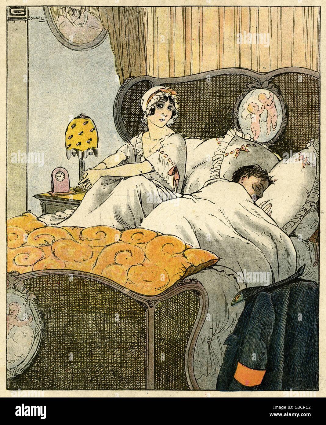 Cartoon Schlaflosigkeit Eine Frau Sitzt Im Bett Nachzudenken Wie