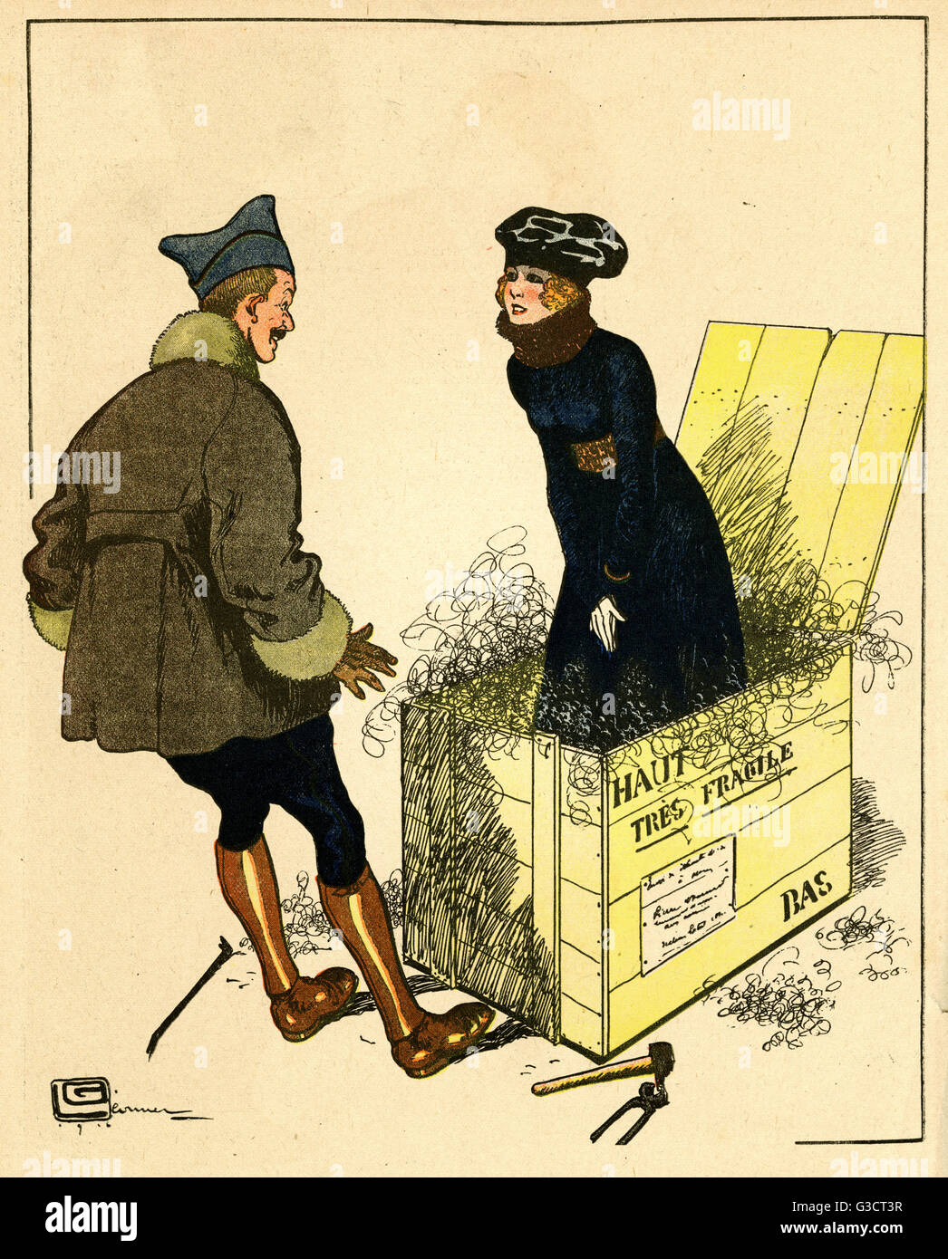 Cartoon, ein großes Weihnachtsgeschenk. Ein Soldat öffnet eine ...