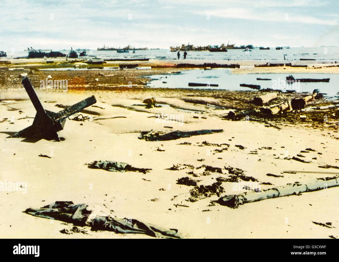 Einer Der Strände Der Normandie Am D Day Zeigt Die Reste Der Strand