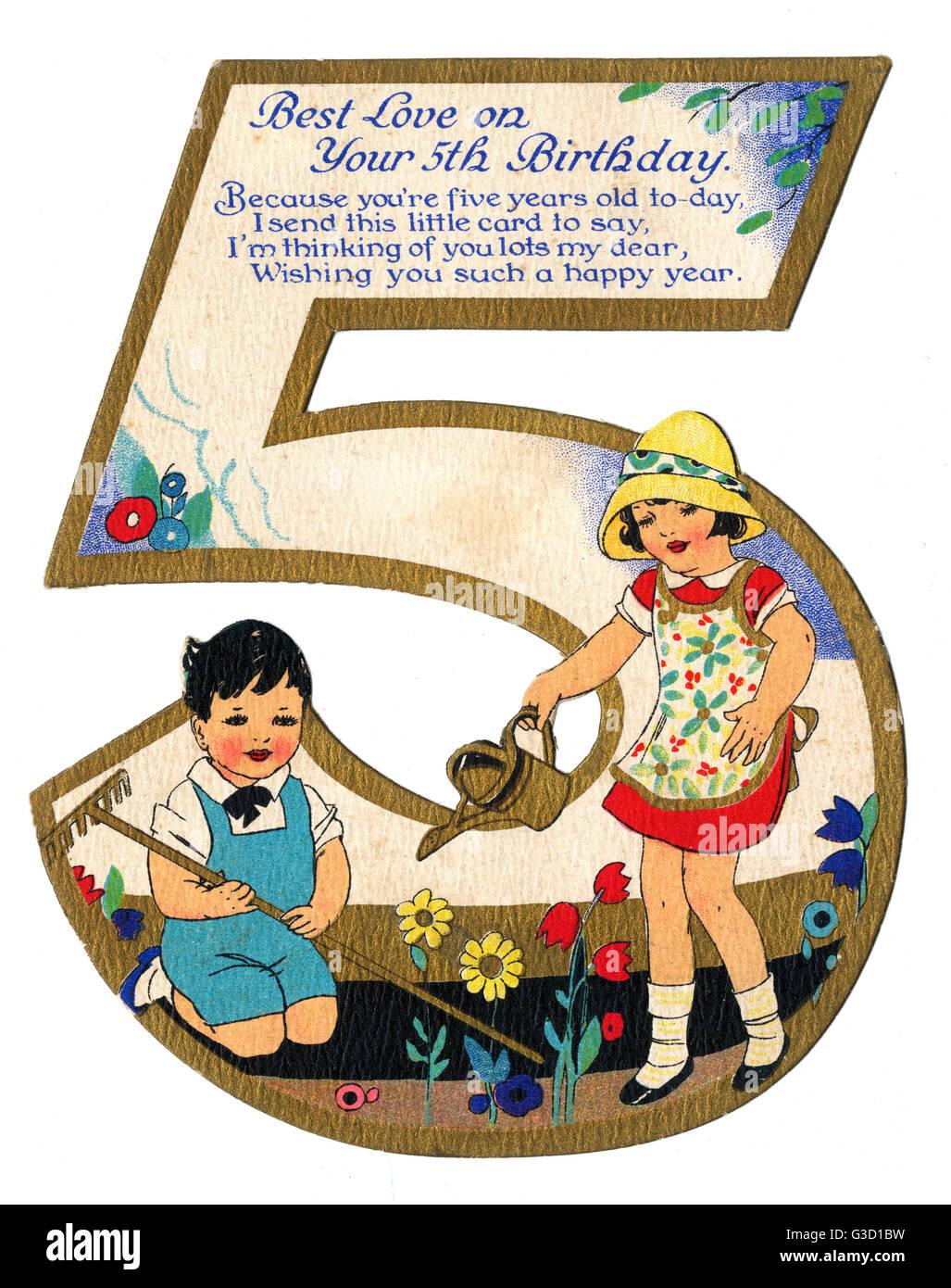 eine sch ne geburtstagskarte f r eine 5 geburtstag zwei 5 year olds ein ort der gartenarbeit. Black Bedroom Furniture Sets. Home Design Ideas