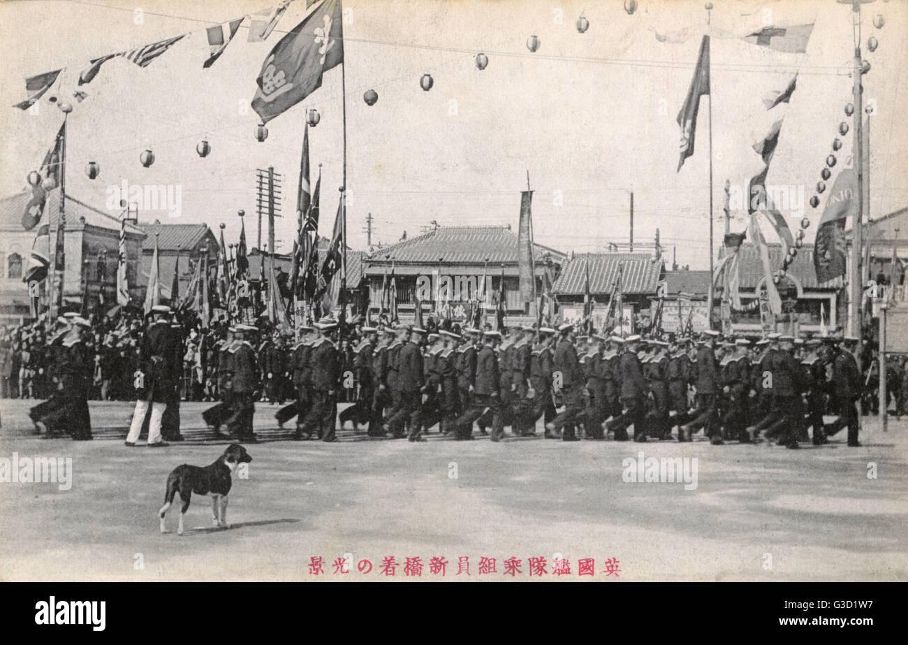 Britische Marine Kontinent in Japan nach der Unterzeichnung des Anglo-Japanische Allianz von 1902. Das Bündnis Stockbild