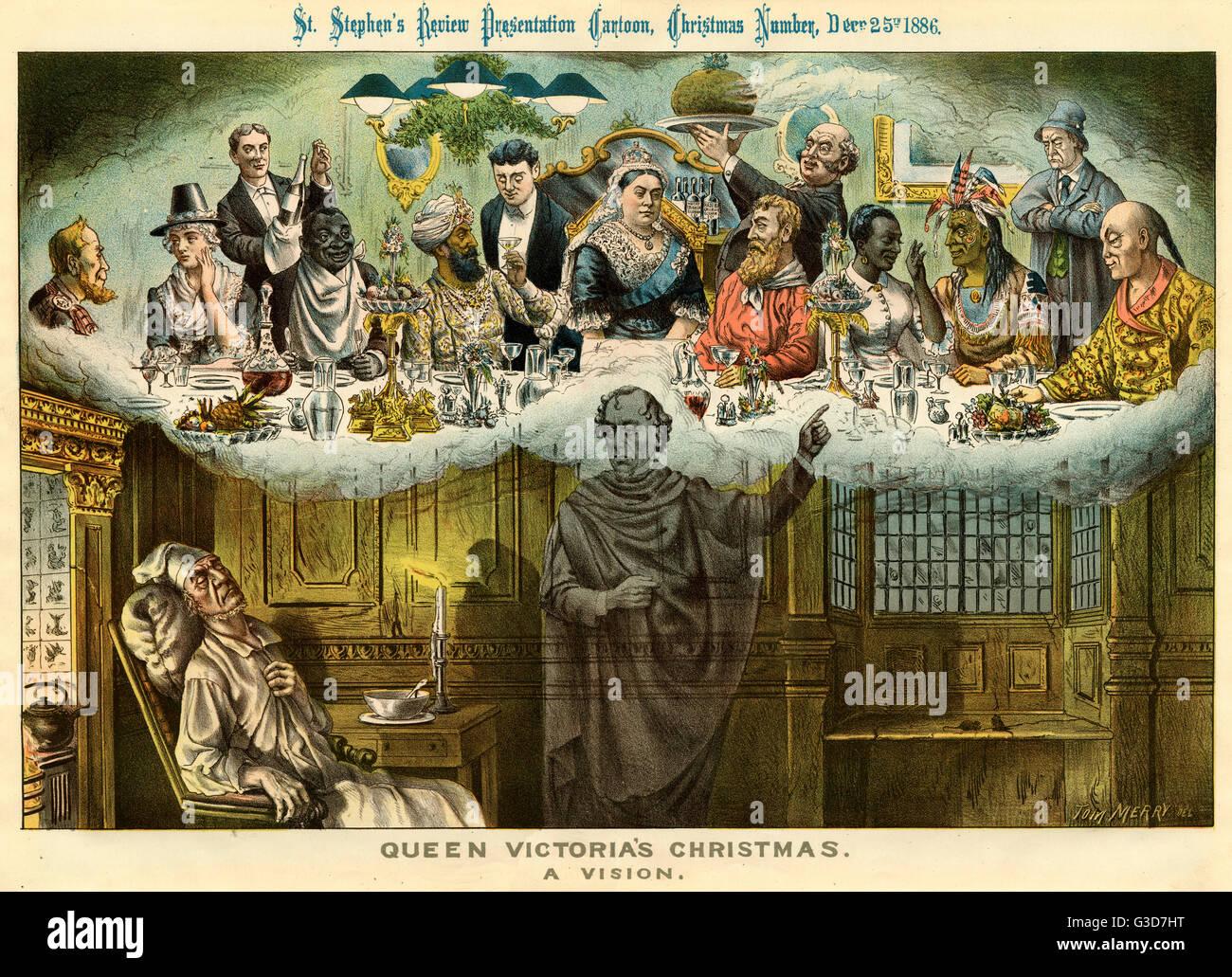 Cartoon, Königin Victorias Weihnachten, eine Vision (basierend auf ...