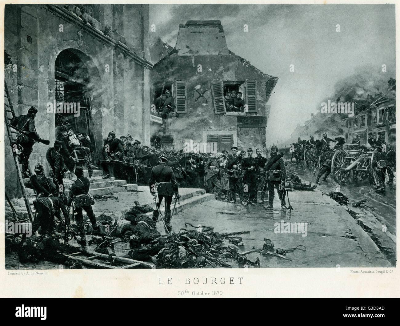 Schlacht von Bourget, Franco-Preussischer Krieg oder Deutsch-Französischen Krieg (1870-1871), preußischer Wachen mit Kriegsgefangenen in einem Dorf.     Datum: 30. Oktober 1870 Stockfoto