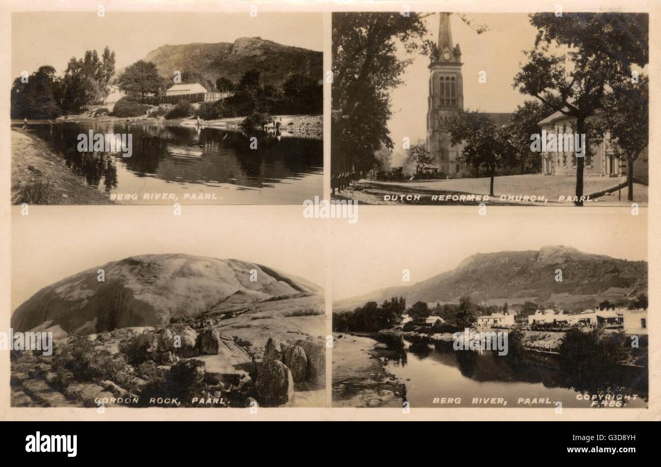 Ansichten von Paarl, Kapprovinz, Südafrika--Berg River, Niederländisch Reformierte Kirche und Gordon Rock. Stockbild