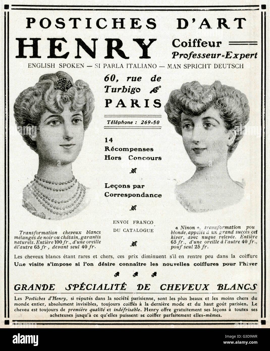 Werbung für B Henry, Haar-Spezialist zeigt zwei Frauen tragen Pompadour Frisuren, die für einen Dreispitz Stockbild