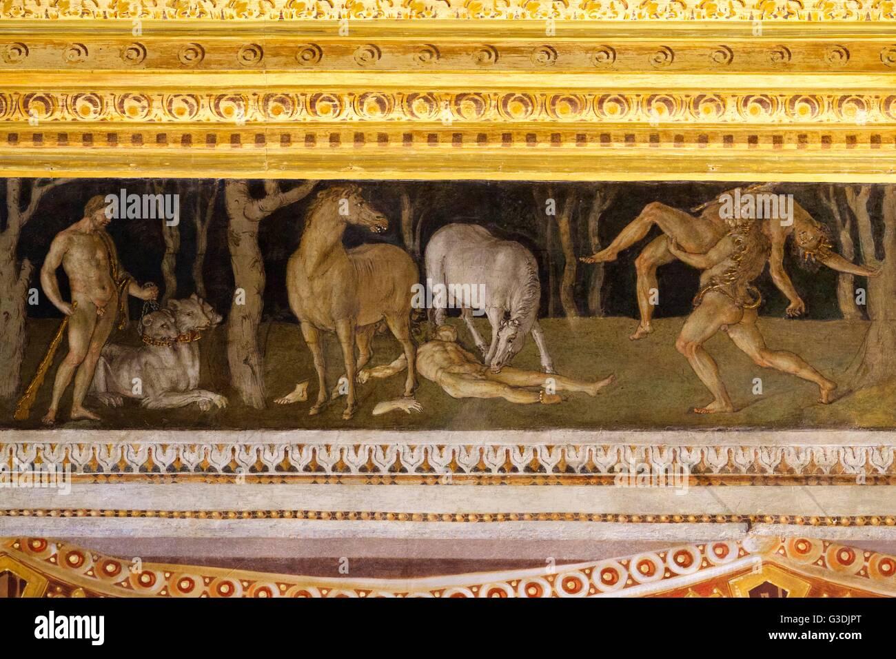 Zwölf Arbeiten des Herkules, Zimmer des Frieses von Baldassarre Peruzzi, Villa Farnesina, Rom, Italien, Europa Stockfoto