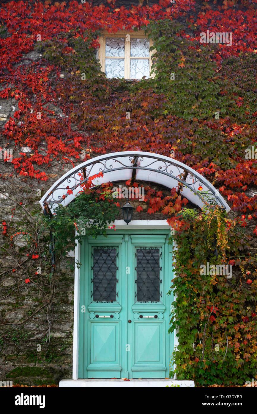 Efeu bedeckt Hausfront im Herbst auf Pilion Halbinsel, Thessalien, Griechenland Stockfoto