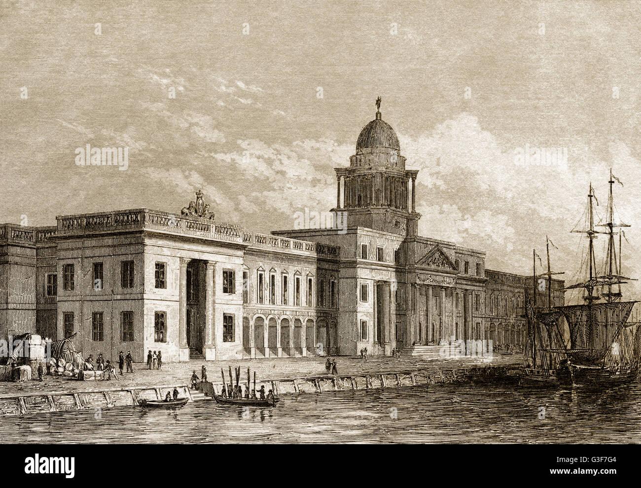 Custom House in Dublin, Irland, 19. Jahrhundert Stockbild